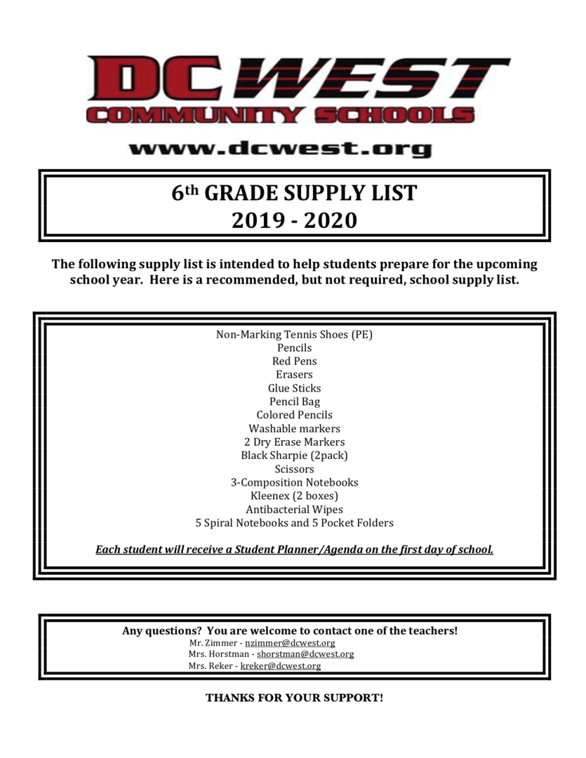 DC West Community Schools - 6th, 7th, & 8th Grade Supply Lists are